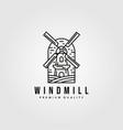 line art windmill logo vintage design farmhouse vector image