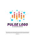 love heart pulse logo design concept people beat vector image vector image