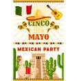 mexican party cinco de mayo fiesta poster vector image vector image