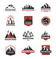 mountain silhouette travel logo badge vector image vector image