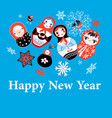 new years greeting card on funny dolls vector image