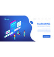 online survey isometric 3d landing page vector image vector image