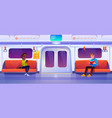 people sitting in subway train car metro wagon vector image