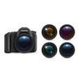 realistic photo camera 3d lenses isolated on vector image