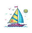 sailing yacht in sea colored sketc vector image