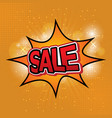 sale comic text speech on ray background vector image vector image