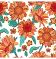 Seamless floral background Isolated orange vector image vector image