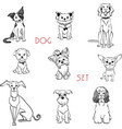 set black and white dogs vector image