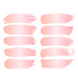 set of pink gold grunge brush strokes vector image vector image