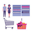 set of supermarket icons vector image