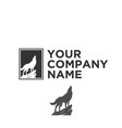 silhouette of wolf logo vector image vector image