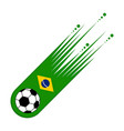 soccer ball with the flag of brazil vector image vector image