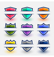 sports style shield symbols set in nine colors vector image