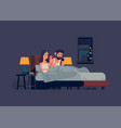 technology addicted couple in bed vector image