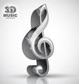 Treble clef 3d metallic music design element vector image