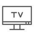 tv line icon screen and display television sign vector image