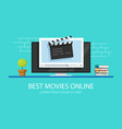 tv video player with film slate clapper board or vector image vector image