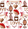 valentine s day seamless pattern red hearts vector image vector image