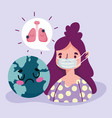 virus covid 19 pandemic girl with medical vector image vector image