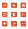 xmas gift icons set grunge style vector image vector image