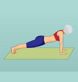 a girl in a plank pose vector image