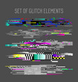 glitch effect elements set tv distortion noise vector image