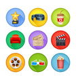 a detailed set realistic cinema icons for web vector image vector image