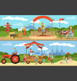 agriculture and farming horizontal banners set vector image