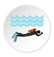 aqualanger in diving suit icon circle vector image vector image