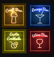 bar or barrel shop neon sight set vector image
