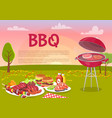 bbq beef roasting meat poster vector image vector image