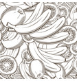 black and white seamless pattern with bananas and vector image
