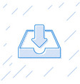 blue download inbox line icon isolated on white vector image vector image