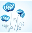 Blue floral background with abstract flowers vector image