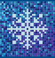 blue snowflake with a mosaic effect greeting card vector image vector image