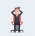 businessman sitting calmly on a casters chair legs vector image vector image