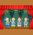 cartoon children singing christmas carols on the s vector image vector image