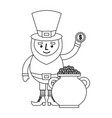 cartoon leprechaun holding coin and pot money st vector image