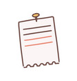 cartoon lined note paper attached with drawing pin vector image