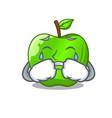 crying perfect fresh green apple on cartoon vector image