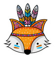cute fox head animal with feathers vector image vector image