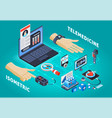 digital health telemedicine isometric composition vector image