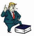 donald trump standing on constitution book vector image vector image