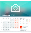 february 2018 calendar for 2018 year week starts vector image vector image