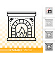 fireplace simple black line burn fire icon vector image vector image