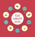 flat icons rooster horse jackass and other vector image vector image