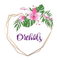 floral design geometric frame orchid eucalyptus vector image vector image