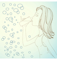 girl drinking water vector image vector image