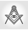 grey masonic freemasonry emblem icon vector image