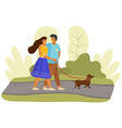 happy couple people in sunny day walks with dog vector image vector image
